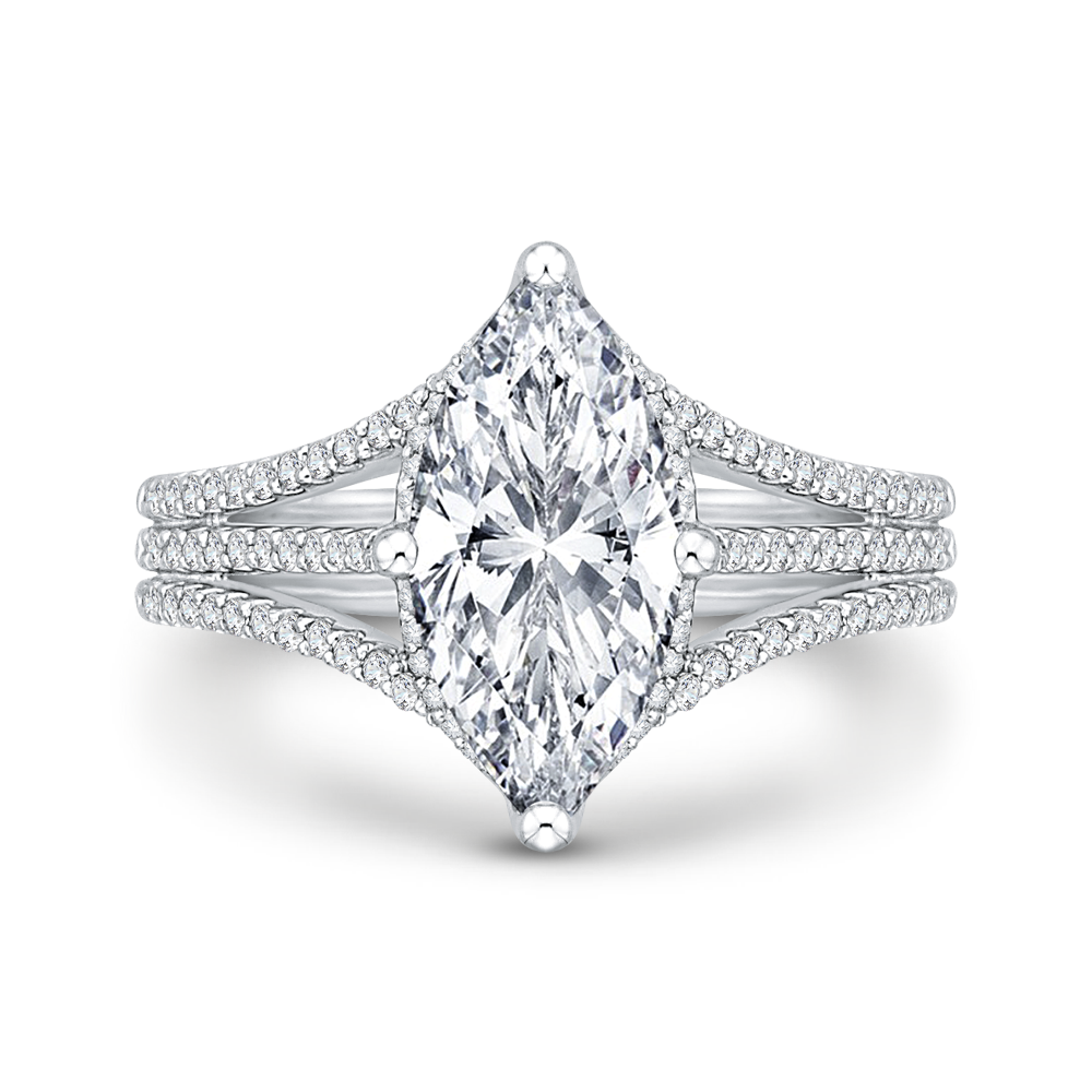 cushion diamond engagement ring with split shank in 14k white gold (semi-mount)