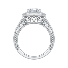 Load image into Gallery viewer, 18K White Gold Cushion Cut Diamond Halo Engagement Ring (Semi-Mount)
