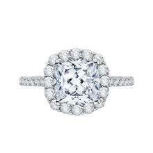 Load image into Gallery viewer, 14k white gold cushion cut diamond halo engagement ring with split shank (semi-mount)
