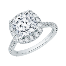 Load image into Gallery viewer, 18k White Gold Cushion Diamond Halo Engagement Ring (Semi-Mount)