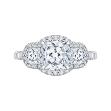 Load image into Gallery viewer, cushion cut diamond halo engagement ring with split shank in 14k white gold (semi-mount)