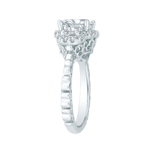 Load image into Gallery viewer, 18K White Gold Cushion Cut Three-Stone Diamond Halo Engagement Ring (Semi-Mount)