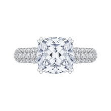 Load image into Gallery viewer, 14k white gold cushion cut diamond engagement ring with split shank (semi-mount)