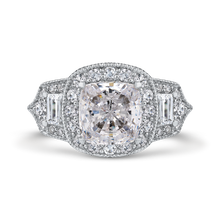 Load image into Gallery viewer, 14k white gold cushion halo diamond engagement ring (semi-mount)