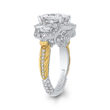 Load image into Gallery viewer, 18K Two-Tone Gold Cushion Cut Diamond Engagement Ring (Semi-Mount)