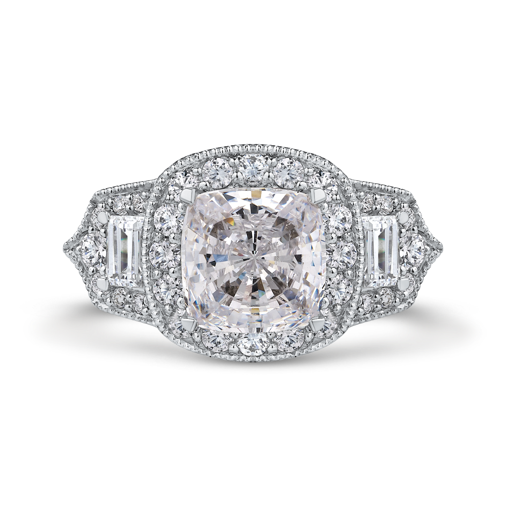 14k white gold cushion halo diamond engagement ring (semi-mount)
