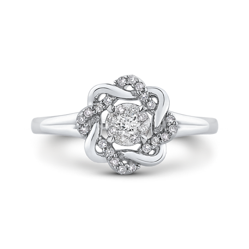 14k white gold cushion diamond halo engagement ring (semi-mount)