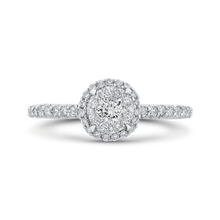 Load image into Gallery viewer, cushion diamond cathedral style engagement ring in 14k white gold (semi-mount)