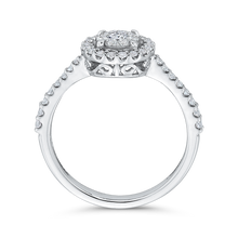 Load image into Gallery viewer, 1/2 ct Round Diamond 10K White Gold Double Halo Fashion Ring