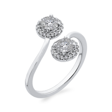 Load image into Gallery viewer, 10K White Gold 1/3 ct Round Diamond Bypass Fashion Ring
