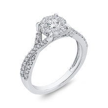 Load image into Gallery viewer, 10K White Gold 3/4 ct Round Diamond Promise Halo Fashion Ring