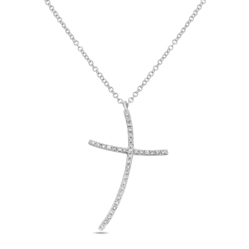 diamond pave abstract cross necklace