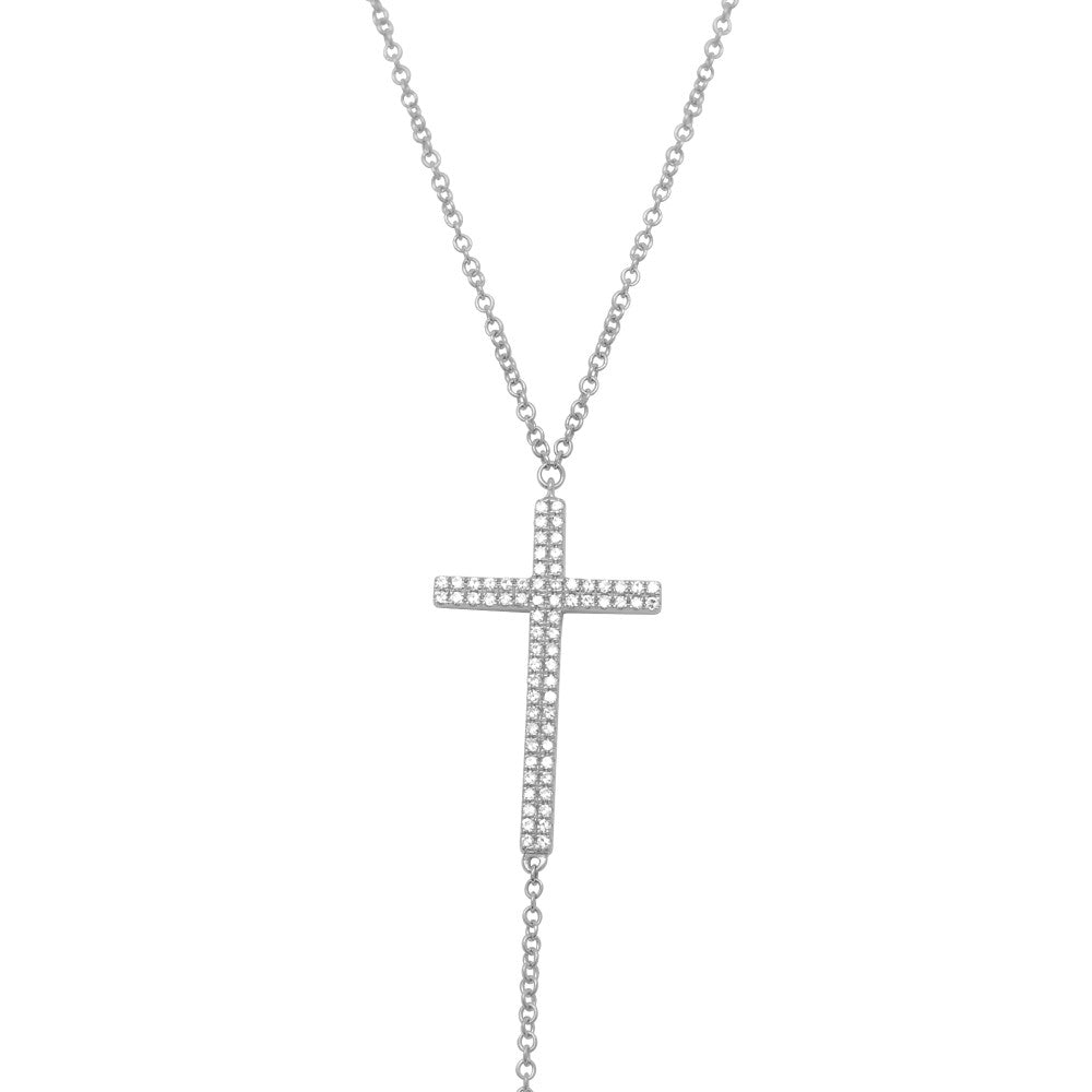 diamond cross y necklace