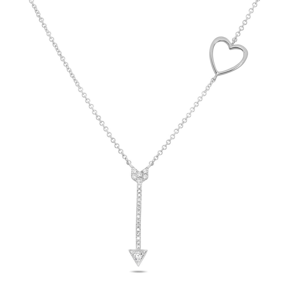 diamond pave heart & arrow necklace
