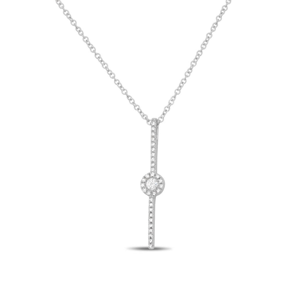 diamond pave circle bar necklace