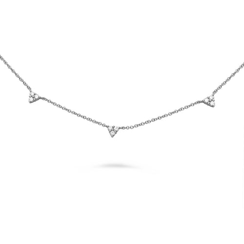diamond triangle charms on chain necklace