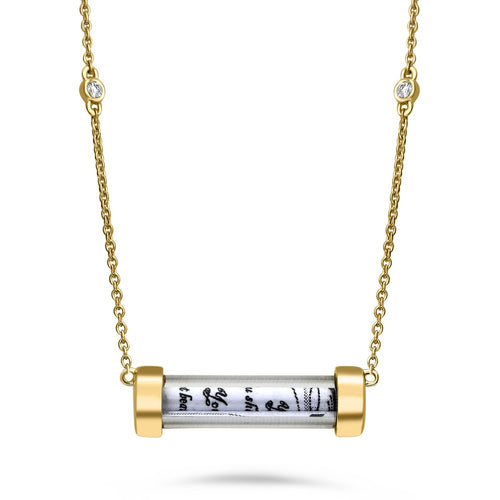 glass tube necklace with ten commandments scroll
