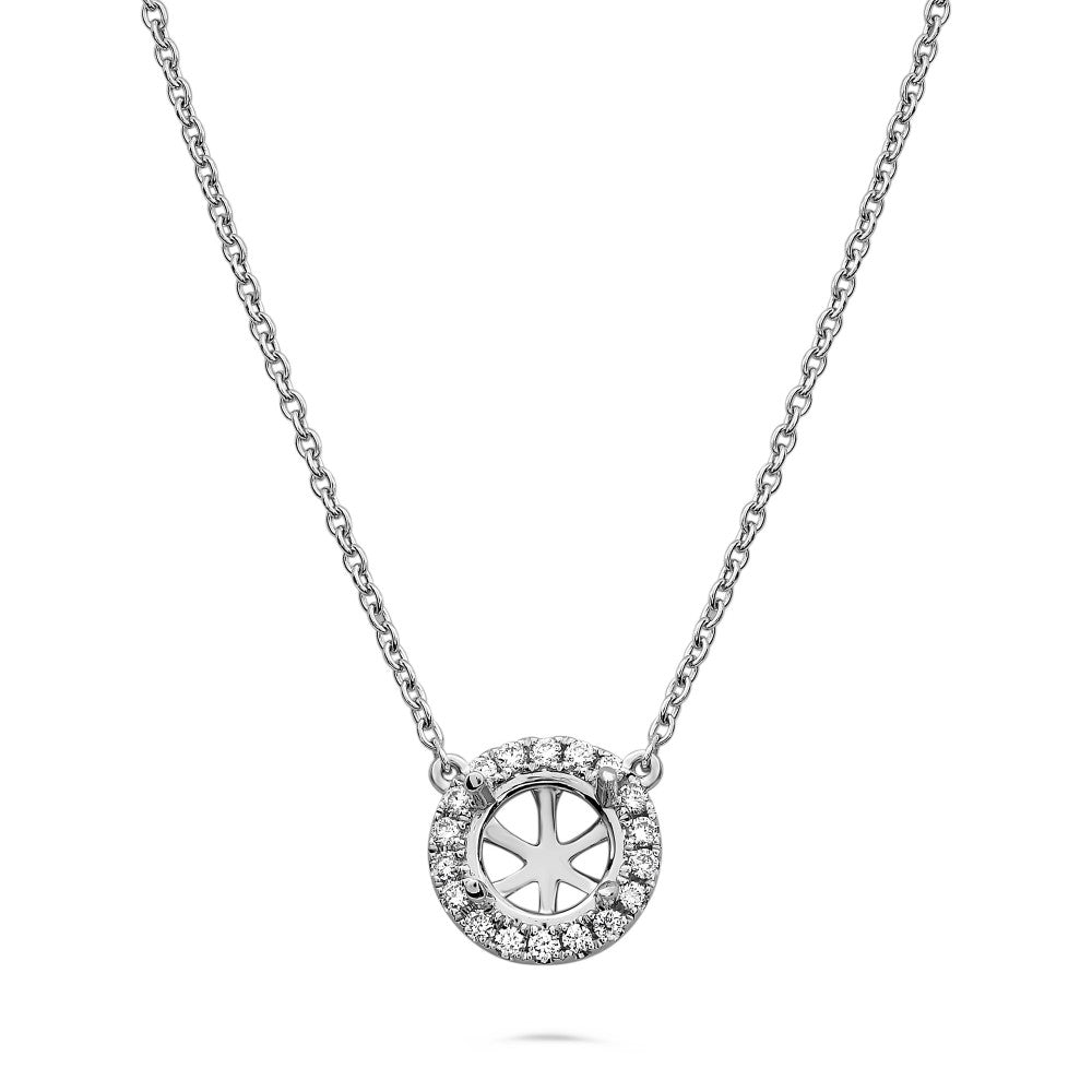 pave diamond halo semi mount necklace