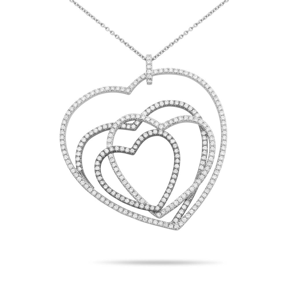 intertwined diamond hearts necklace
