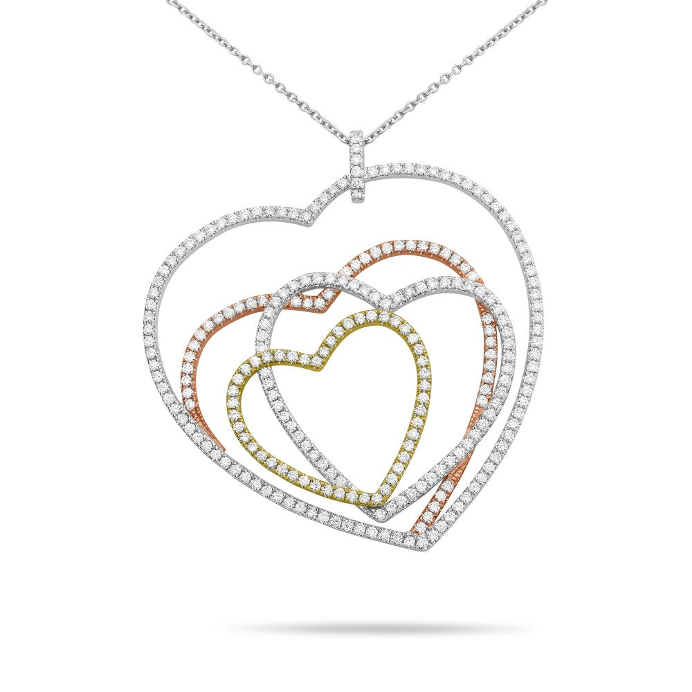intertwined diamond hearts - tricolor