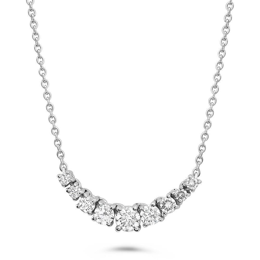 graduated diamond necklace in white gold