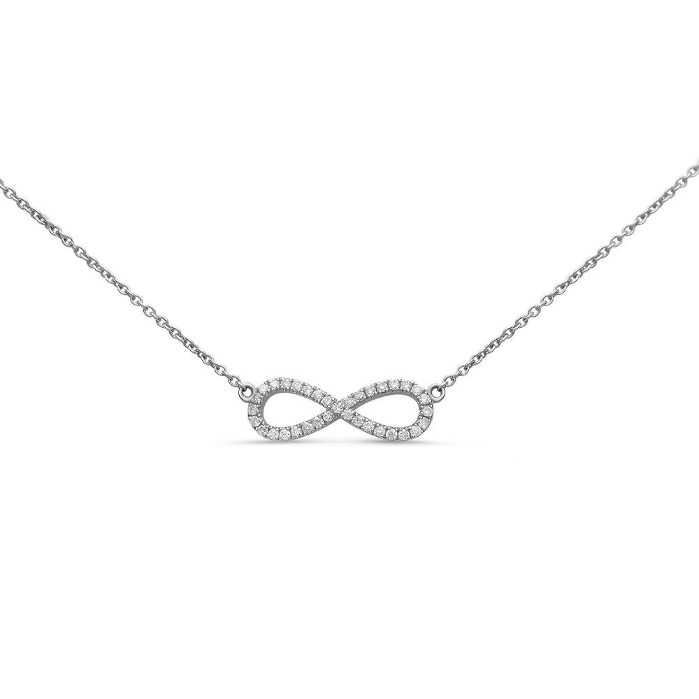 diamond infinity pendant necklace in white gold