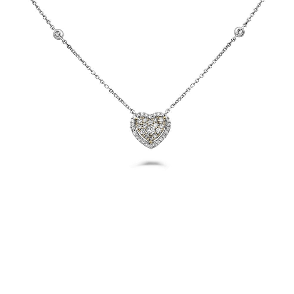 heart-shaped diamond halo pendant necklace