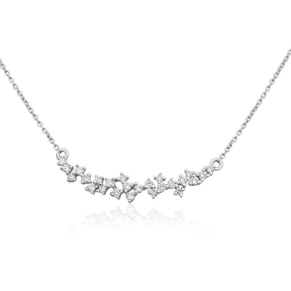 diamond cluster smile necklace