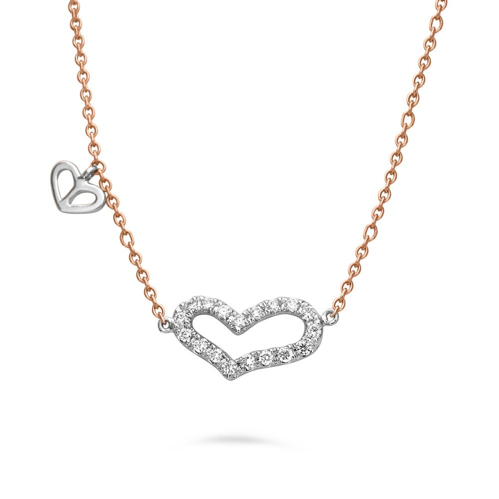 rose and white gold diamond heart pendant necklace