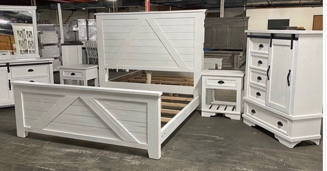 White Barn Style King Bedroom Set