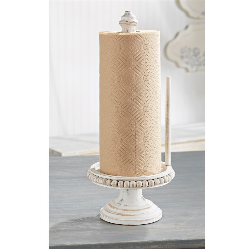 BEADED WOOD PAPER TOWEL HOLDER