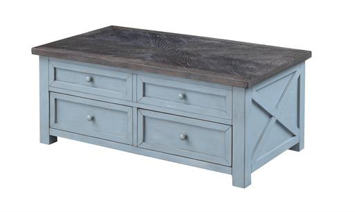 Blue Coffee Table with Lift Top