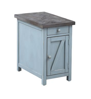 Blue End Table with 1 Drawer and 1 Door