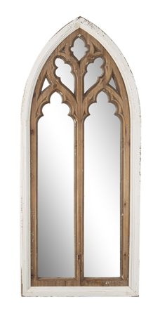 Distressed White with Natural Arch Overlay Wall Mirror
