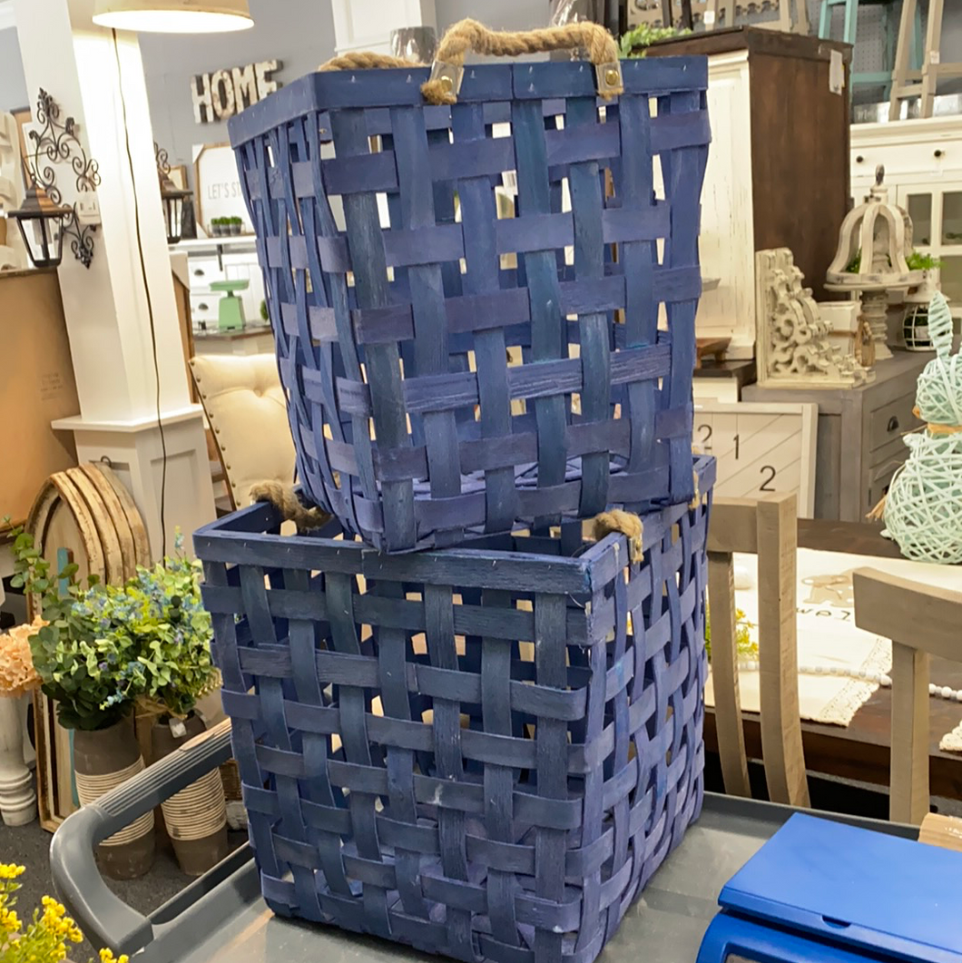 Blue Basket Weave Basket