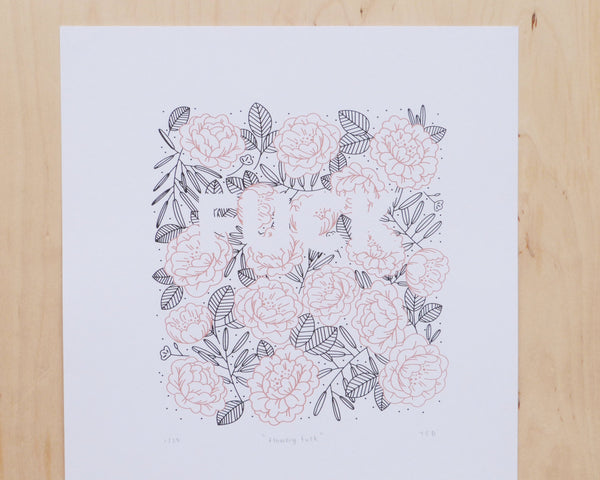 Flowery Fuck A3 Screen Print | Pink