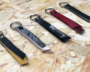 Recycled leather slim keyring