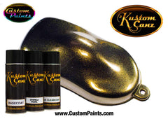 Gold Sparkle Pearl Aerosol Over Black Base