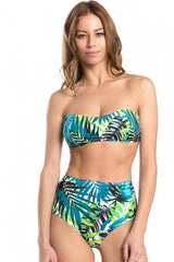 Leaves Print Strapless Bikini Set