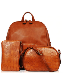 Three Piece Snake Embossed Fashion Backpack
