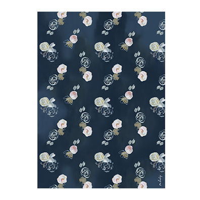 Blue Florals Wrapping Paper