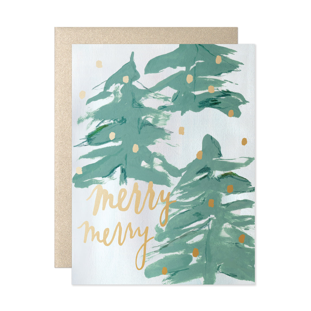abstract spruce trees and gold foil accents against a wintry backdrop for a merry merry christmas - Merry Merry Merry Christmas