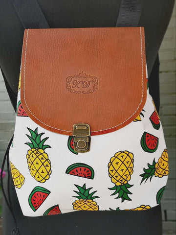 Fruit design collection - rucksack with leather flap - Mixed fruit