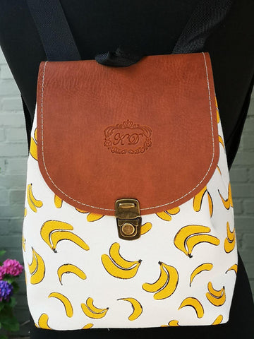 Fruit design collection - rucksack with leather flap - Banana
