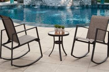 Aurora 3 Piece Sling Seating Set Black