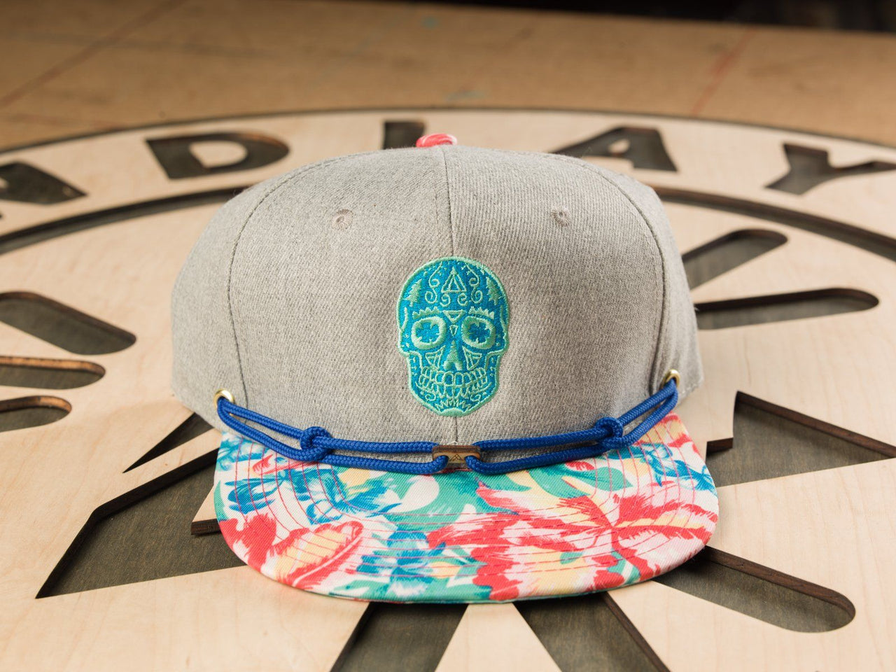 Sneaky Sugar Skull - Neon Blue / Mint (1 of 1) Limited Edition Hats Findlay Hats