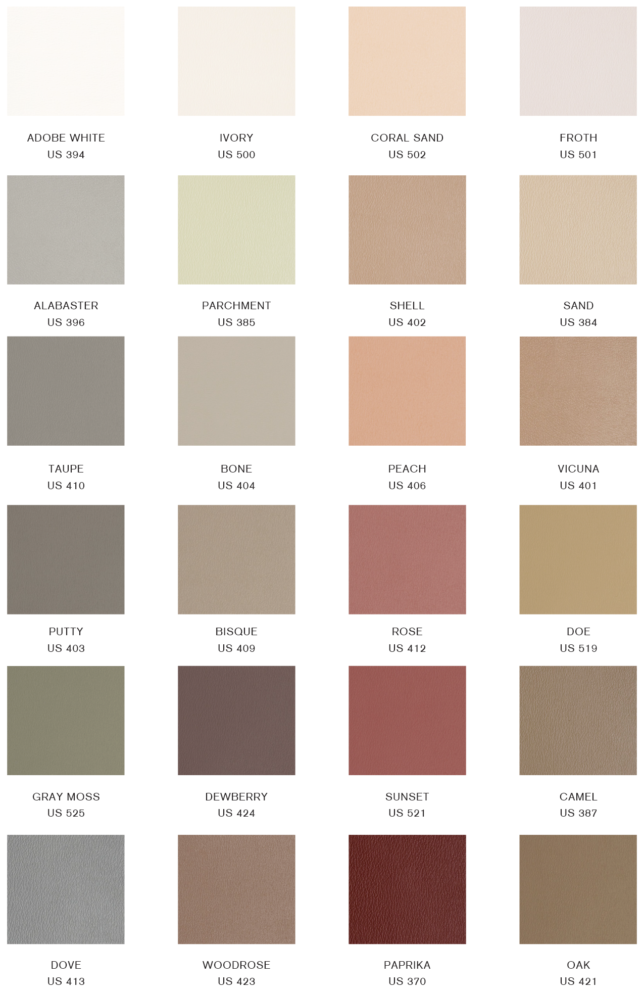 Upholstery Swatch Chart Gratz Pilates Industries