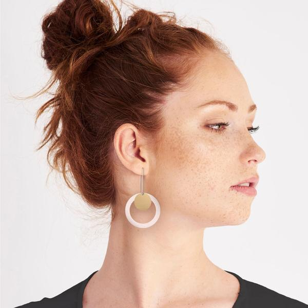 Flaxen Clay Layered Circle Outline Long Drop Earrings