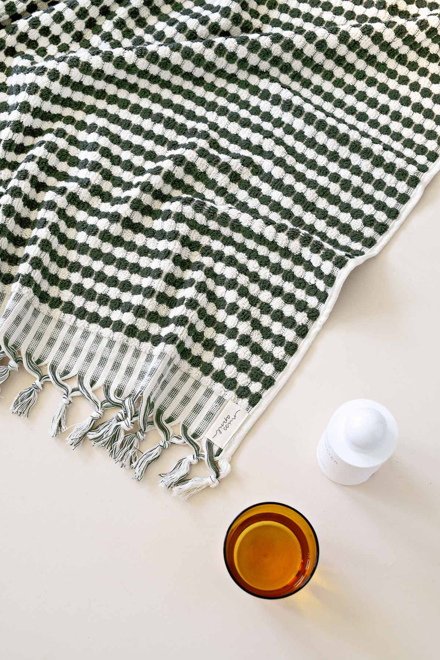 Pompom Turkish Towel │Khaki