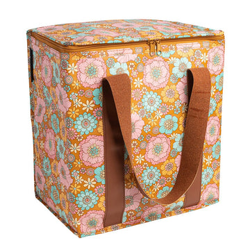 Retro Aqua Floral Cooler Bag